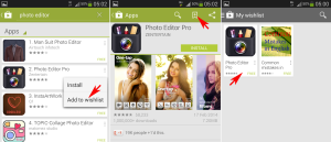add app to wishlist in play store in Galaxy S4