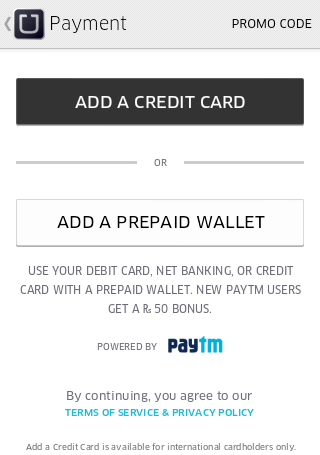 How to remove a Credit Card in Uber App?
