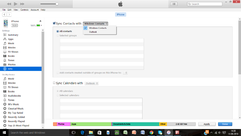 How to Sync contacts from laptop to iPhone